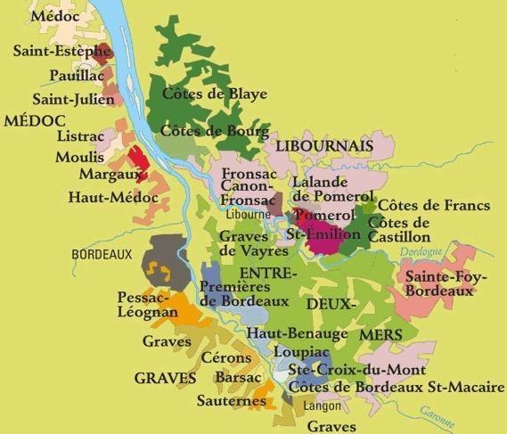 """波尔多地区位于法国西南部,加隆河,多尔多涅河和吉龙德河谷地区。该区地域广大,东西长85英里,南北70多英里,是世界公认的世界最大的葡萄酒产地。   波尔多产区的葡萄酒,口感柔顺细雅,是一种女性化的葡萄酒,被誉为""""法国葡萄酒王后""""。   波尔多产区的气候和地理条件得天独厚:它临大西洋,气候温和,土壤形态多,有吉伦特河流过,葡萄树在此生长最佳。   波尔多产区是全世界好葡萄酒的最大产区:波尔多产区葡萄种植面积10万公顷,年产8亿瓶葡萄酒,其中AOC级的好葡萄酒占总量的95%。   波尔多由于地广"""
